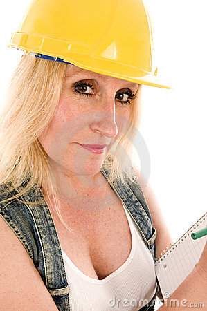 Contractor lady writing contract estimate