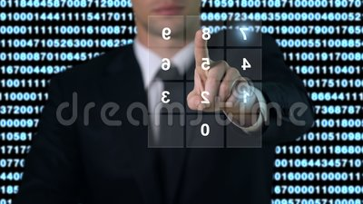 Contraseña que entra en la pantalla, acceso a bases de datos de la seguridad, tecnología moderna del hombre metrajes