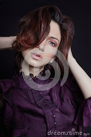 Free Contrast Fashion Armenian Woman Portrait With Big Blue Eyes On A Dark Background In A Purple Dress. Lovely Gorgeous Girl Posing Royalty Free Stock Images - 110193379