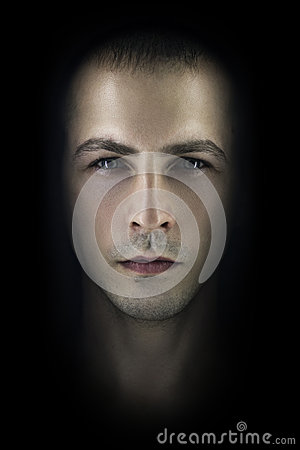 Free Contrasting Male Portrait On Black Background. Light And Shadow On The Man`s Face. Stylish, Brutal Man, Art Photo. Silhouette Face Royalty Free Stock Photos - 87310798