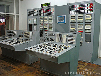 Control panel at electric power plant