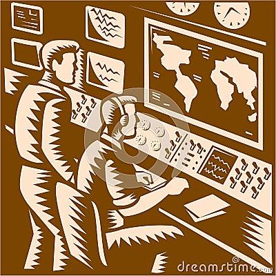 Control Room Command Center Headquarter Woodcut