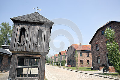 Control tower and barracks in Auschwitz camp Editorial Photo