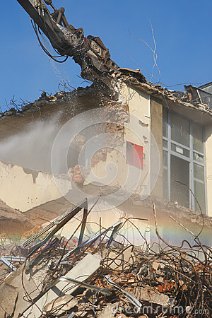 Controlled Demolition Editorial Stock Photo