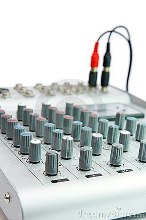 Controls of small sound mixer console