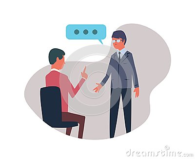 Conversation between two people. Vector illustration, isolated on white background. Vector Illustration