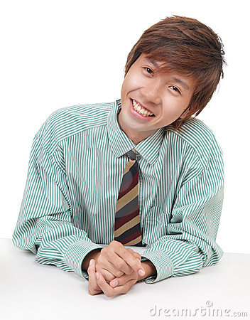 Convincing Asian salesman