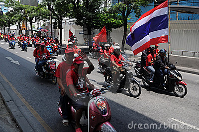 Convoy of Thai Red Shirt Protesters on Motorbikes Editorial Stock Photo