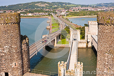 Conwy Castle and Three Bridges in Wales, UK