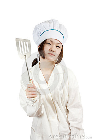 Cook asian woman in toque