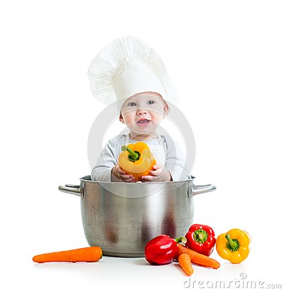 Free Cook Baby Inside Big Pan With Healthy Food Royalty Free Stock Image - 47246376