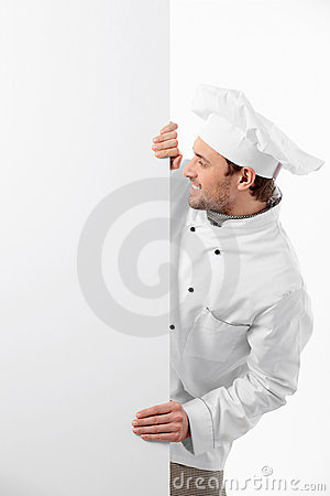 Cook with a banner