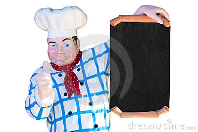 Cook with blank sign