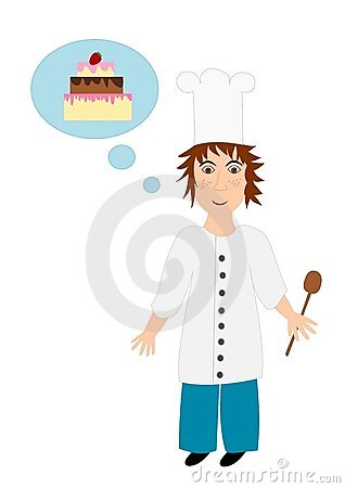 Cook (chef) with an idea - illustration