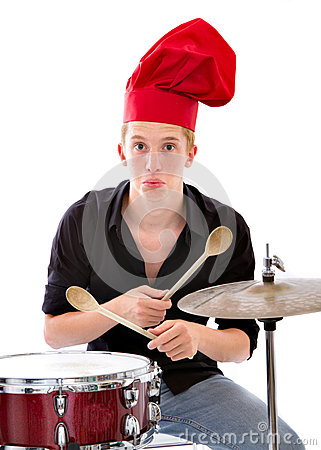 Cook chef palying drums