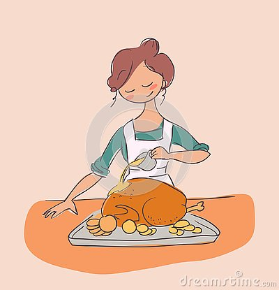 Cook chicken housewife dinner vector illustration doodle Cartoon Illustration