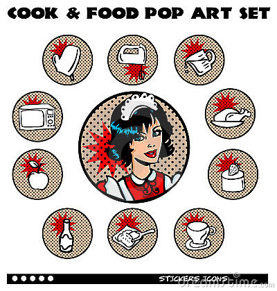 Cook and food pop art icons set stock photography for Art cuisine evolution 10 piece cooking set