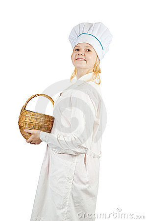 Cook girl  holding  wicker basket