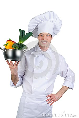 Cook holding pan with vegetables