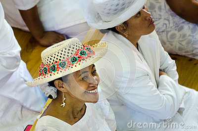 Cook Islander woman wearing Rito hat Editorial Stock Photo