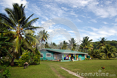 Cook Islanders home in Aitutaki Lagoon Cook Islands Editorial Stock Photo