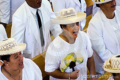 Cook Islands people pray at CICC church Editorial Stock Image