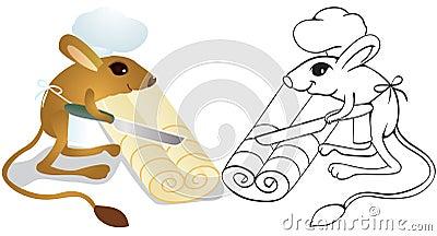 Cook jerboa unrolls dough