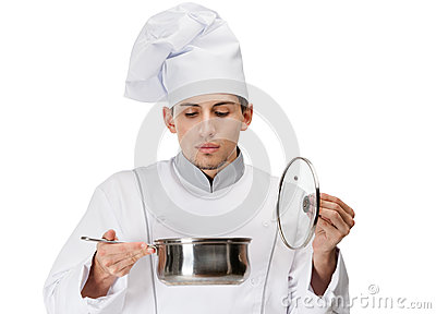 Cook looking into stew pan