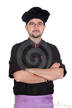 Cook man with black uniform