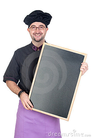 Cook man with black uniform and blackboard