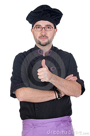 Cook man with black uniform saying OK
