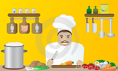 Cook in a restaurant.