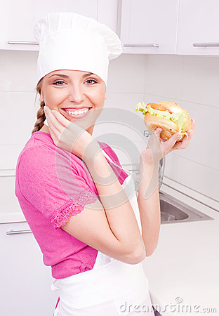 Cook with a sandwich