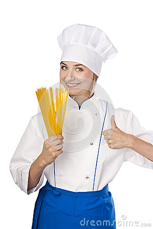 Cook with spaghetti in hands on white background