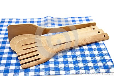 Cook spoon with tablecloth