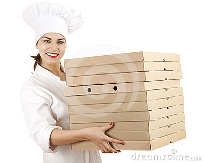 Cook woman with boxes of pizza