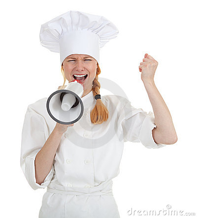 Cook woman shouting through megaphone