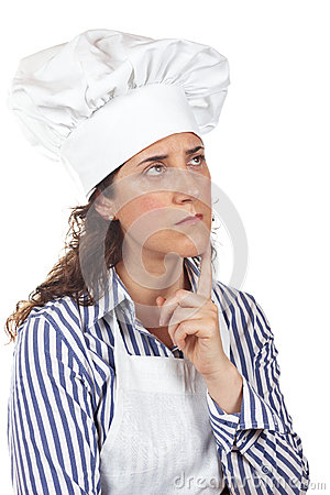 Cook woman thinking