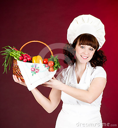 Cook woman with vegetables