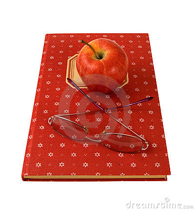 Cookbook with a apple and glasses