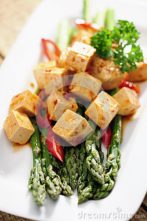 Food: Cooked Asparagus and marinated Tofu