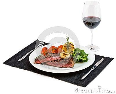 Cooked beef steak