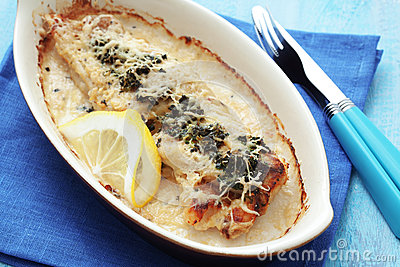 Cooked fish with spinach