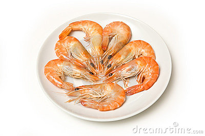 Cooked prawns on plate