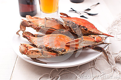 Cooked rock crabs on a plate
