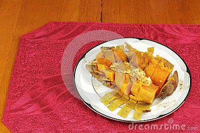 Cooked Sweet Potato with Butter and Cinnamon