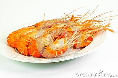 Cooked tiger prawns