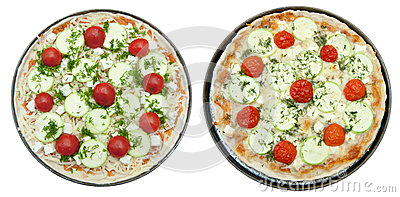 Cooked and uncooked pizza with goat cheese