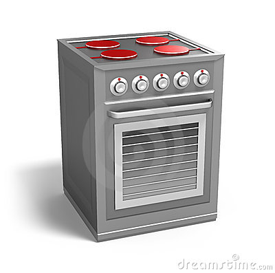 Cooker with owen isolated on white
