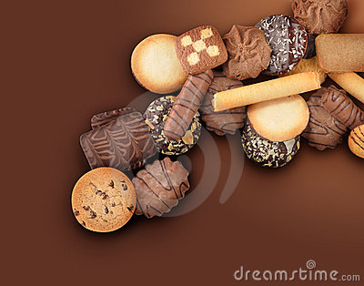 Cookie Assortment on Brown Background